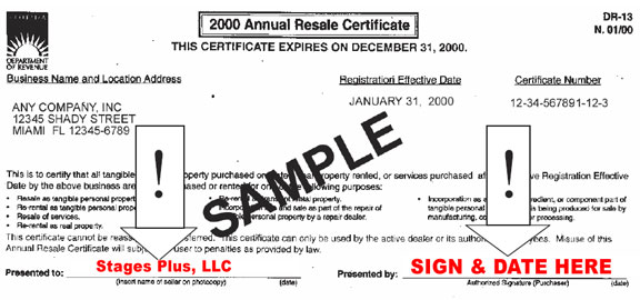 DR-13 Annual Resale Certificate