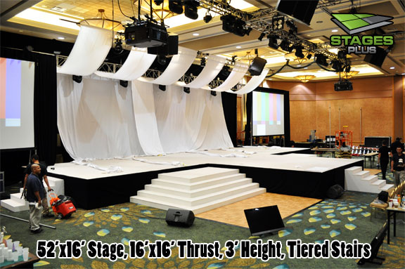 stage white carpet tiered stairs