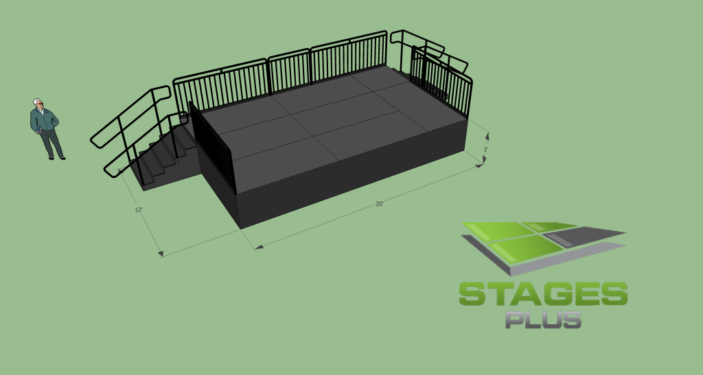 12' x 20' Stage, 3ft Height