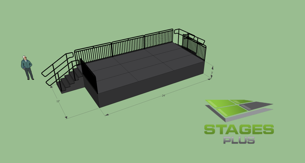 12' x 24' Stage, 3ft Height